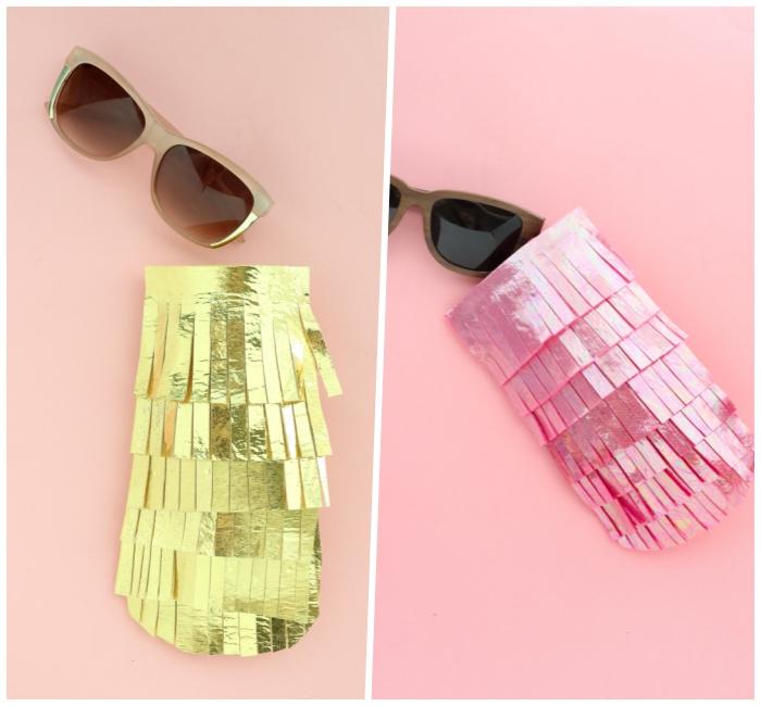 muttertag geschenkideen, selsbtgemachte brillenbeuteln aus goldenem und rosa stoff, sonnenbrille