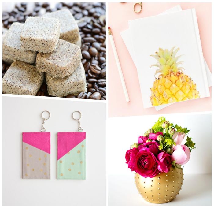 seibstgemachte badebomben mit kaffee, muttertag geschenkideen, heft mit ananas, goldene vase, schüsselanhänger aus leder