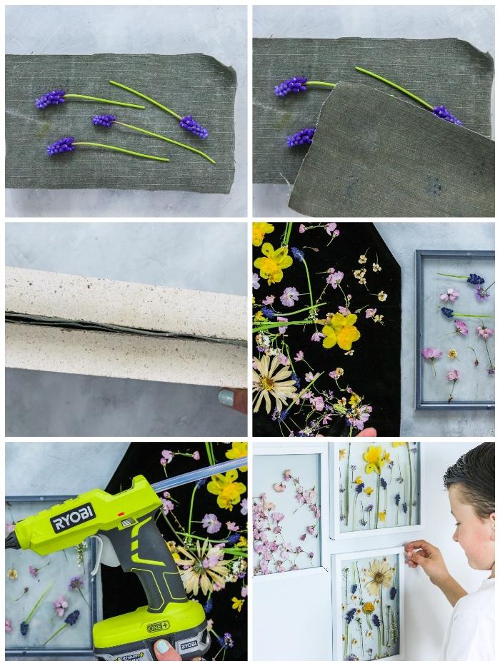 diy bastelideen, basteln mit kindern, kleine lila blüten, muttertag geschenkideen, florale bilder