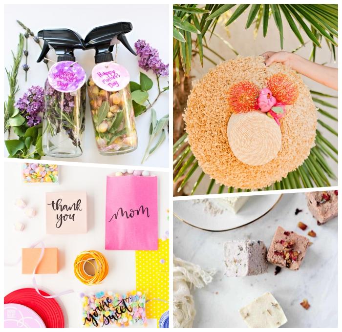 selsbtgemachte parfüme, muttertag geschenkideen, hut dekoriert mit blumen, badebomben mit getrockneten blüzenblättern