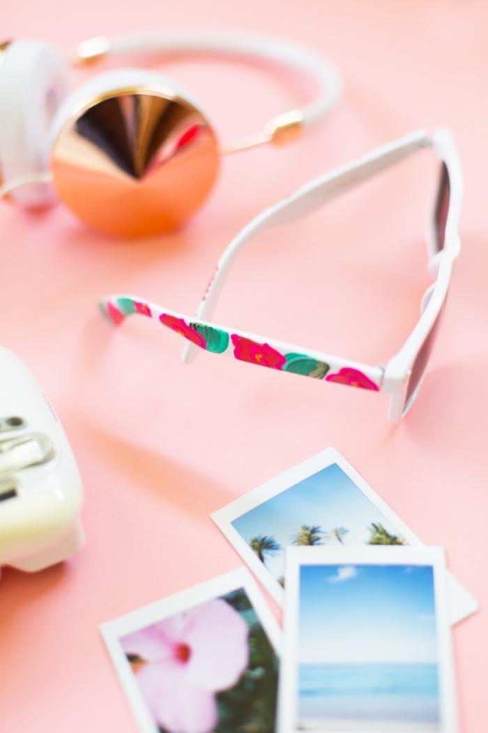 muttertag geschenkideen zum selbermachen, brille mit weißem rahmen dekoriert mit rosa blumen