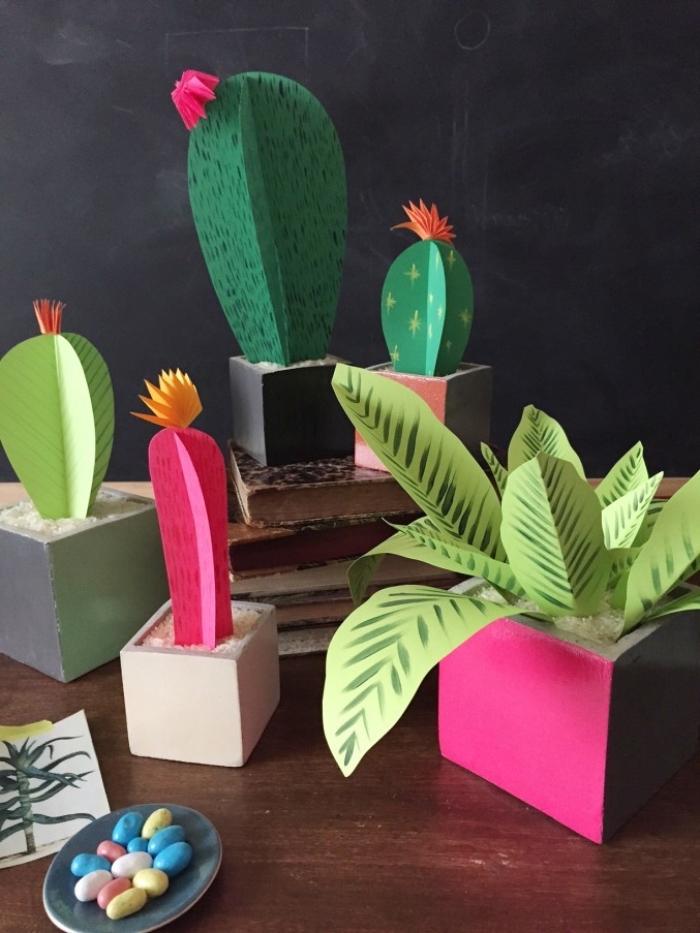 muttertagsgeschenk basteln für erwachsene, blumen basteln aus papier, papierblumen, kakteen