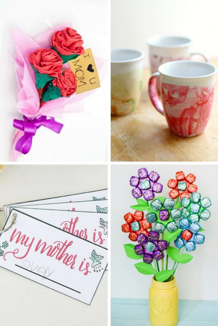 muttertagsgeschenk basteln für erwachsenen, blumenstrauß mit blumen aus bonbons, tassen dkeoriert mit nagellack, blumen aus papier