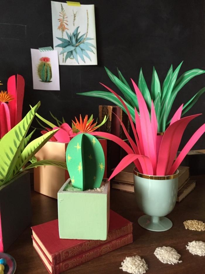 selbstgemachte pflanzen aus papier, muttertagsgeschenk basteln für erwachsenen, diy geschenk für frauen