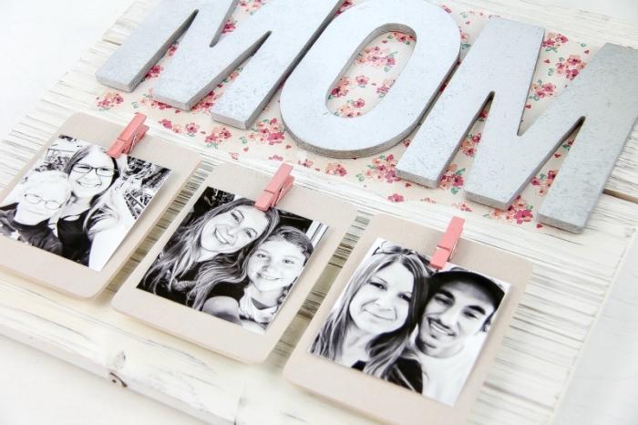 wanddeko selber machen, muttertagsgeschenk basteln für erwachsenen, platte mit fotos, fotowand