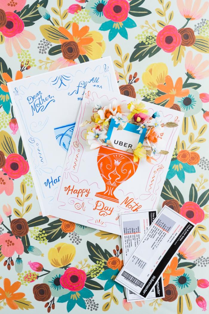 selsbtgemachte geschenkkarten tum muttertag dekoriert mit 3d papierblüten, muttertagsgeschenke ideen