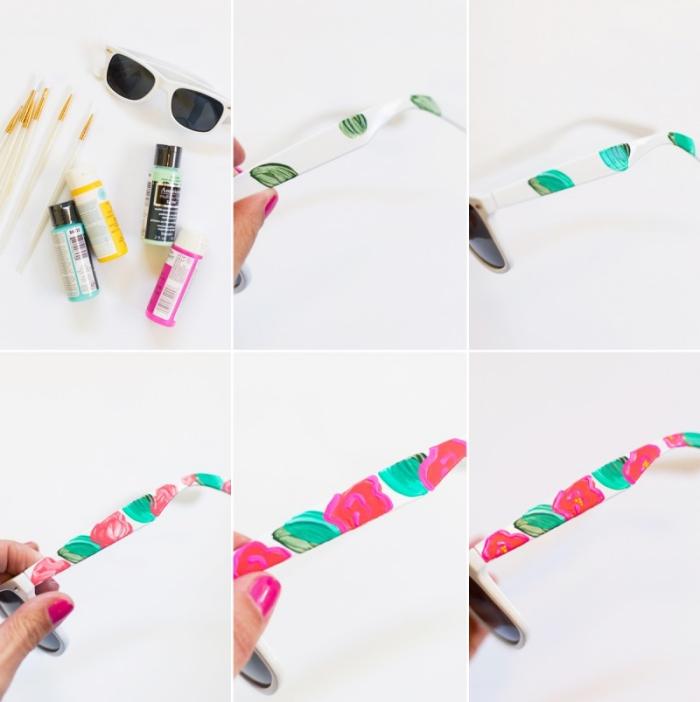 diy geschenke für frauen, muttertagsgeschenke ideen, weißer rahmen mit farbe dekorieren, sonnenbrille