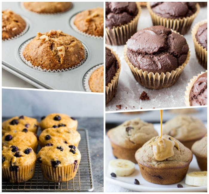 schokoladenmuffins mit erdnussbutter, nutella muffins rezept, traditionelle cupcakes mit schokoladenchips