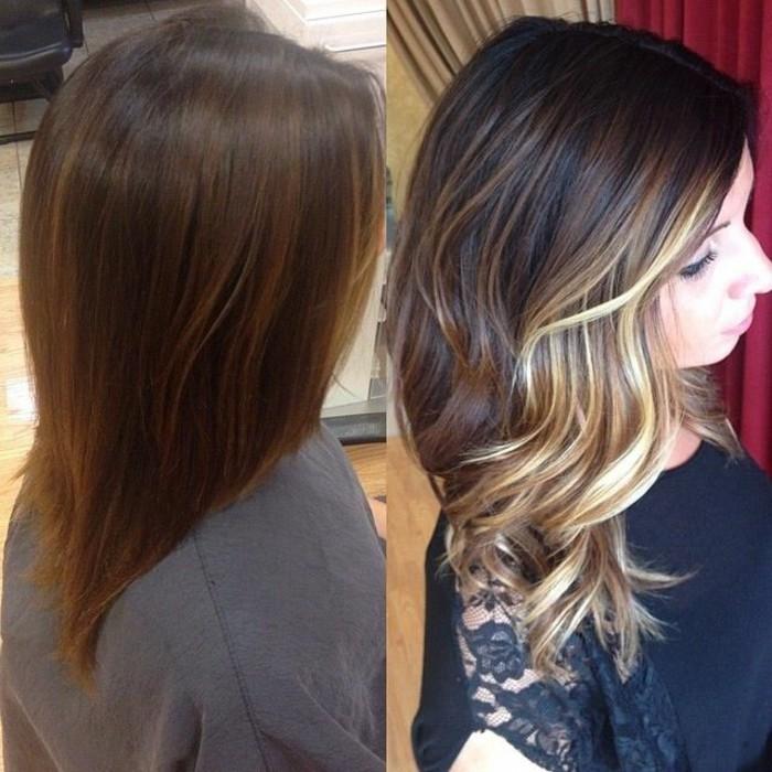 braune haare mit strähnen gestalten, blonde strähnen in dem haar, schöne haarstylings zum inspirieren