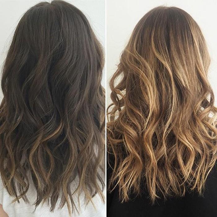 braune haare mit strähnen, haarfrisuren zum stylen, braune haare hell färben