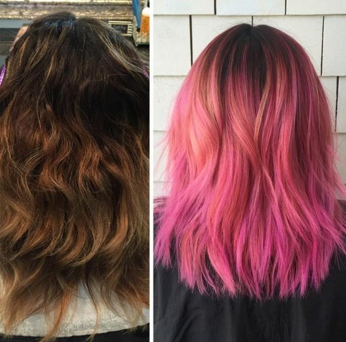 ombre balayage für brünetten, von braunhaarig rosarote haare gestalten, haarfarbe ausgefallen