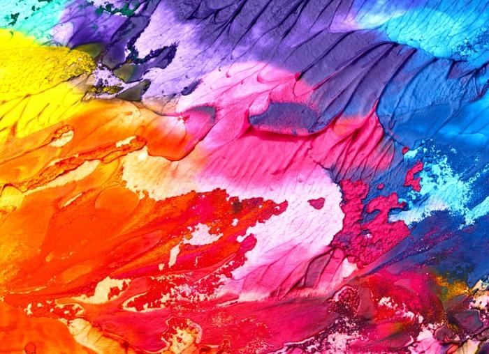 rosa, blaue, rote. gelbe Schattierungen vermischt in einer abstrakten Kunst, Online-Kunstgalerien