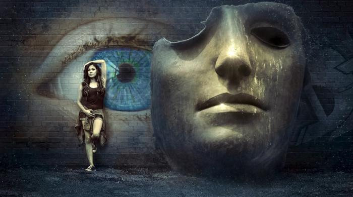 ein Auge, eine Maske und ein Mädchen, das Auge ist blau, das Bild ist grau, On-line Kunstgalerien