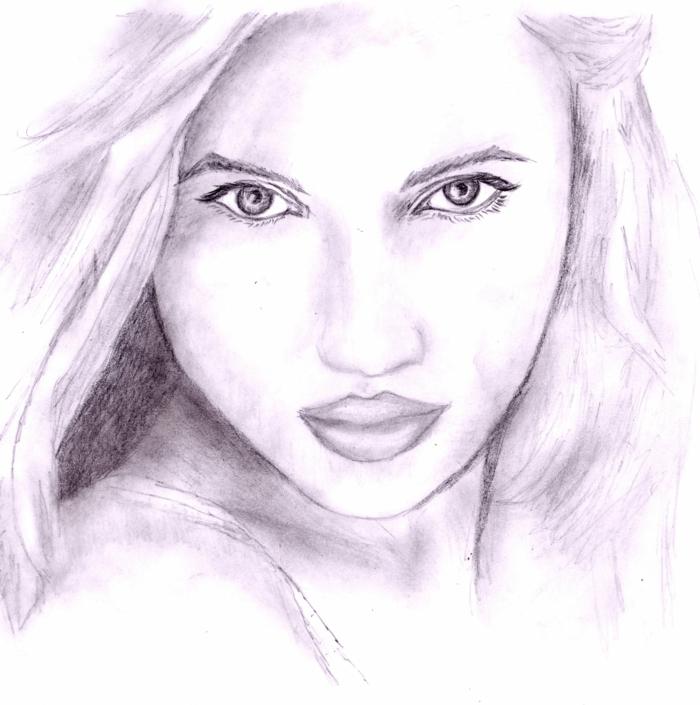 eine Zeichnung von Mädchen, ein Porträt, ein Mädchen mit schönen Augen und vollen Lippen, Zeichnung mit Bleistift, Online-Kunstgalerien