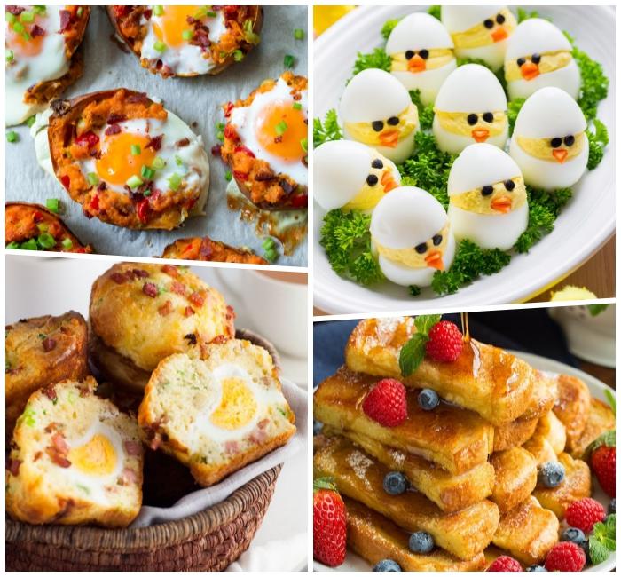 osterbrunch rezepte, eier dekoriert mit kücken, muffins mit eiern, french toast sticks