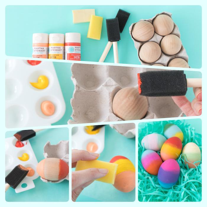 Ostereier aus Holz mit Acrylfarben färben, Anleitung in fünf Schritten, Farbenschichten machen
