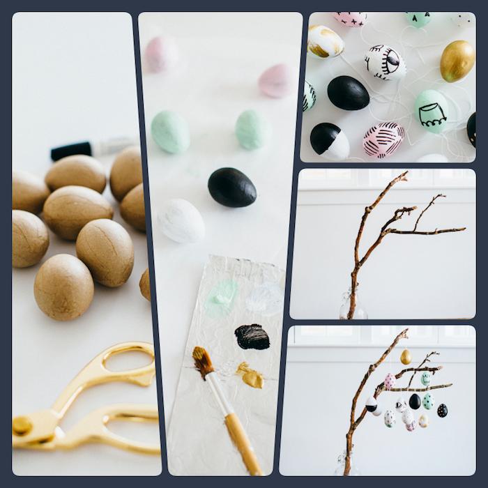Bunte Ostereier aus Holz, mit Acrylfarben färben, Osterbaum kreativ schmücken, Anleitung in fünf Schritten