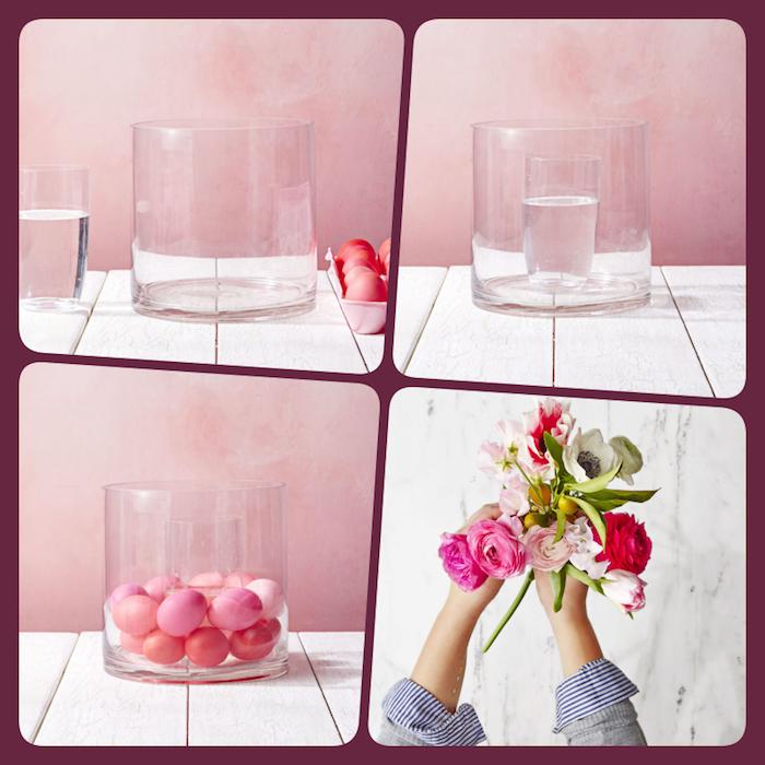 Osterdeko basteln in vier einfachen Schritten, durchsichtige Vase mit Ostereiern und Frühlingsblumen füllen