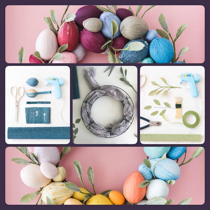Osterkranz selber machen, Eier aus Holz mit Krepppapier umwickeln, mit Heißkleber am Kranz befestigen