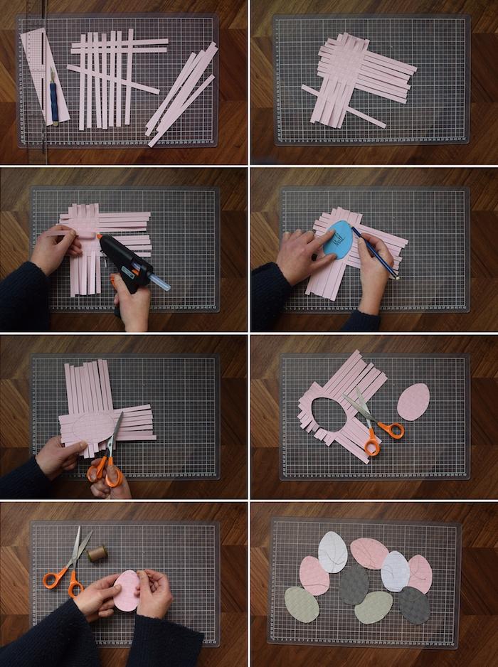 Deko Ostereier selber machen aus Lederstreifen, DIY Anleitung in acht Schritten