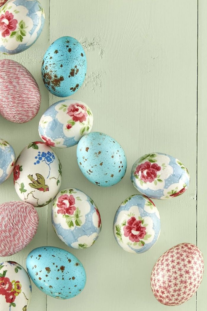 Ostereier mit Serviettentechnik verzieren, mit Blumenmuster, Eier mit Faden umwickeln