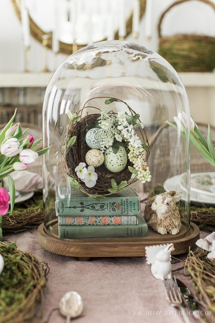 Tischdeko zu Ostern, Ostereier in Nest und Mini Bücher in Glas, Deko in Vintage Stil