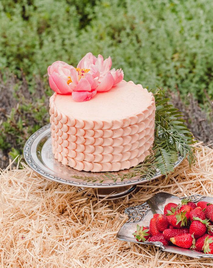 Torte mit Erdbeercreme für Junggesellenabschied, frische Erdbeeren, Party im Freien planen