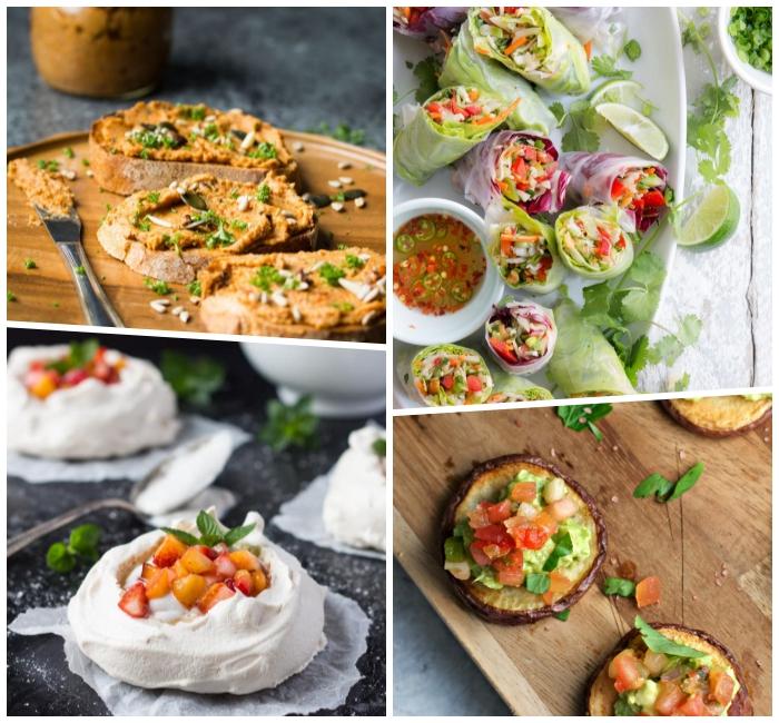kleine brotscheiben mit erdnussbutter, glutenfreie tacos, häppchen aus süßen kartoffeln, partyessen schnell und einfach