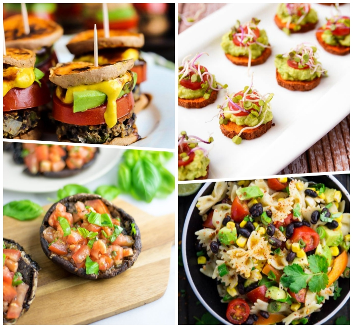 party essen schnell unf einfach, häppchen aus süßen kartoffeln und gemüse, mini vegan burgers