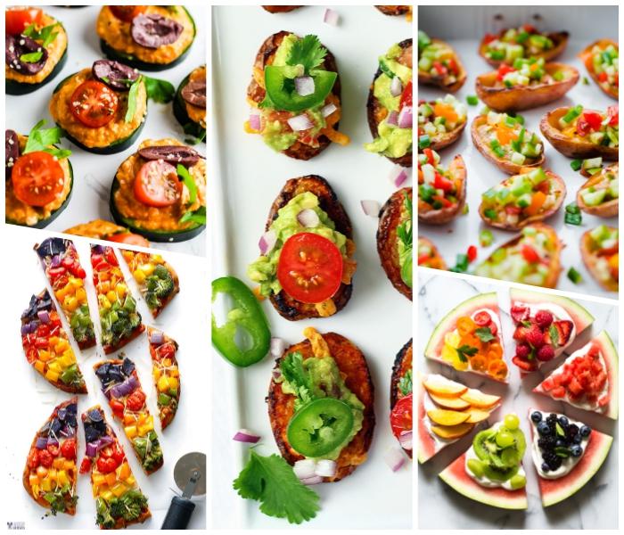 party essen schnell, mini pizzas aus wassermelone und früchten, bruschettas mit avocado, grünem paprika und cherry tomaten