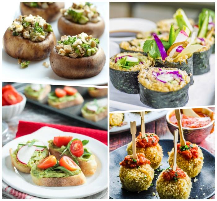party essen schnell und einfach, vegan sushi, bruschettas mit topping aus avocado, cherry tomaten und basilikum