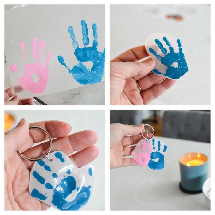 Schlüsselanhänger mit Handabdrücken selber machen, Ideen für Basteln mit Kindern