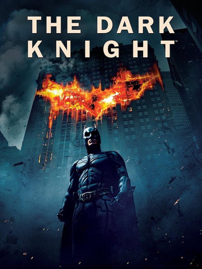 batman mit einem schwarzen kostüm für superhelden aus ledder und feuer, poster des films the dark knigt