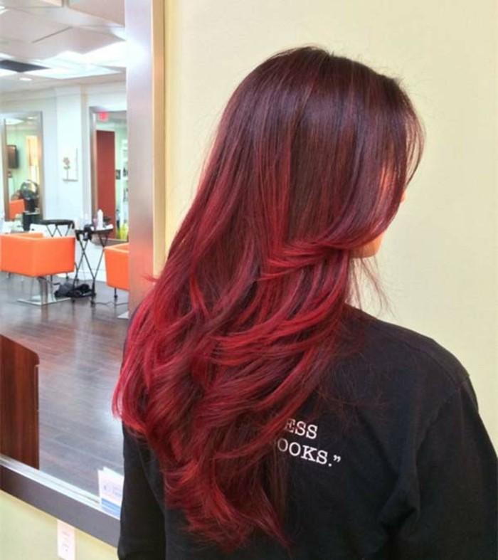 balayage oder ombre rot ideen zur färbung von langen haaren, haarfarbe wechseln