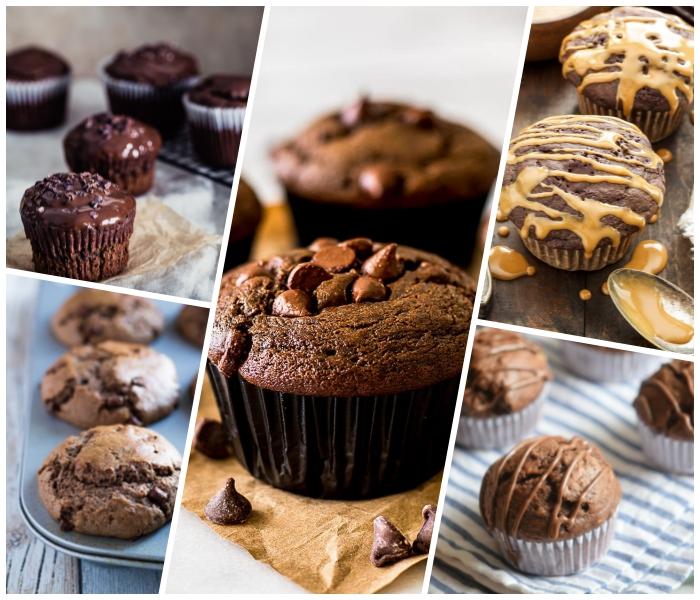 schoko muffins backen, eifnache und schnelle rezepte, glasur mit erdnussbutter, schokoaldenchips