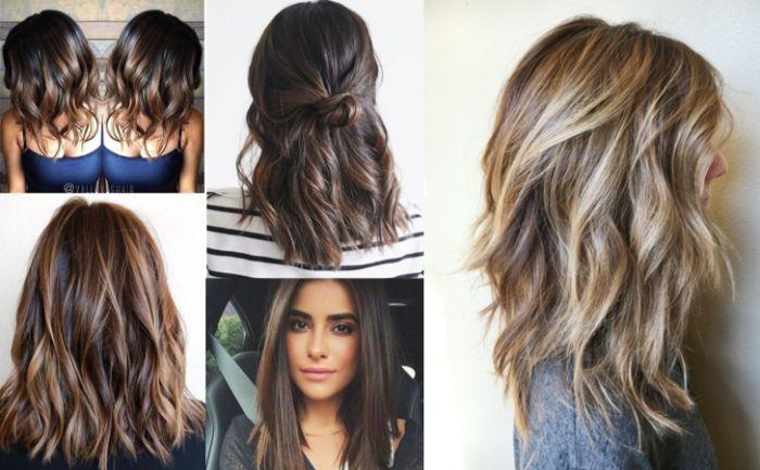 haarschnitt stufenlang, collage mit fünf bildern schöne frauen mit perfekten frisuren vorbild, vorlagen zum haarstyle