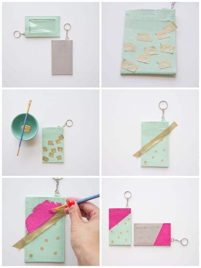 schlüsselanhänger aus leder mit acrylfarben dekorieren, goldene punkte, selsbtgemachte geschenke für mama