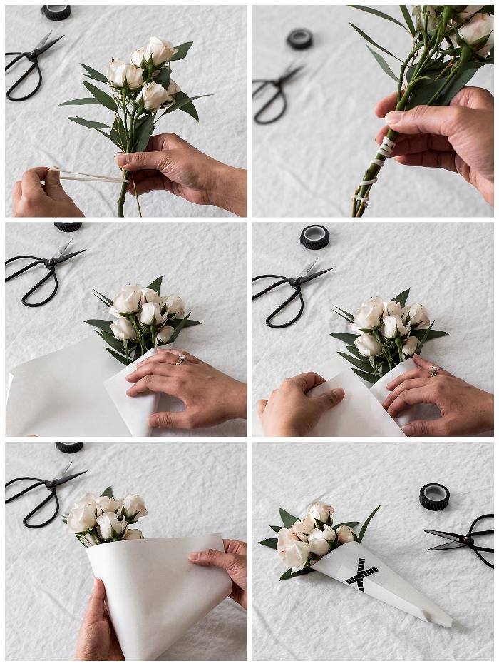 blumenstrauß selber machen anleitung, selsbtgemachte geschenke für mama, weiße rosen