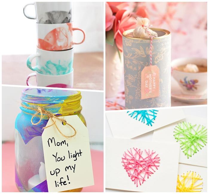 selsbtgemachte geschenke für mama, kaffeetassen dkeorieren mit nagellack, windlicher aus einmachglas, geschenkkarte mit herzen aus garn