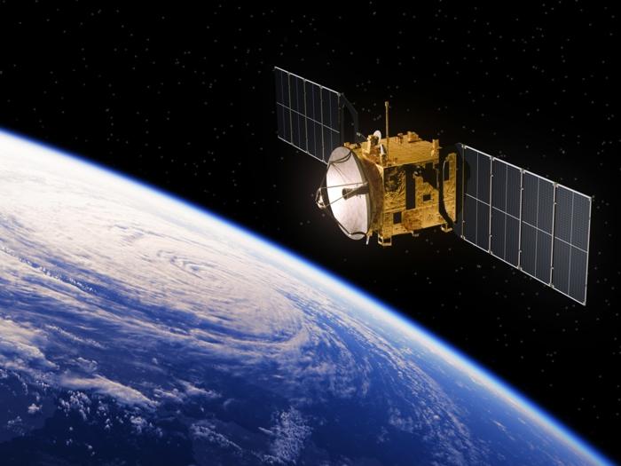 Weltall, Erde und ein Satellit, ein Bild vom Satellit der Spieler im Silicon Valley