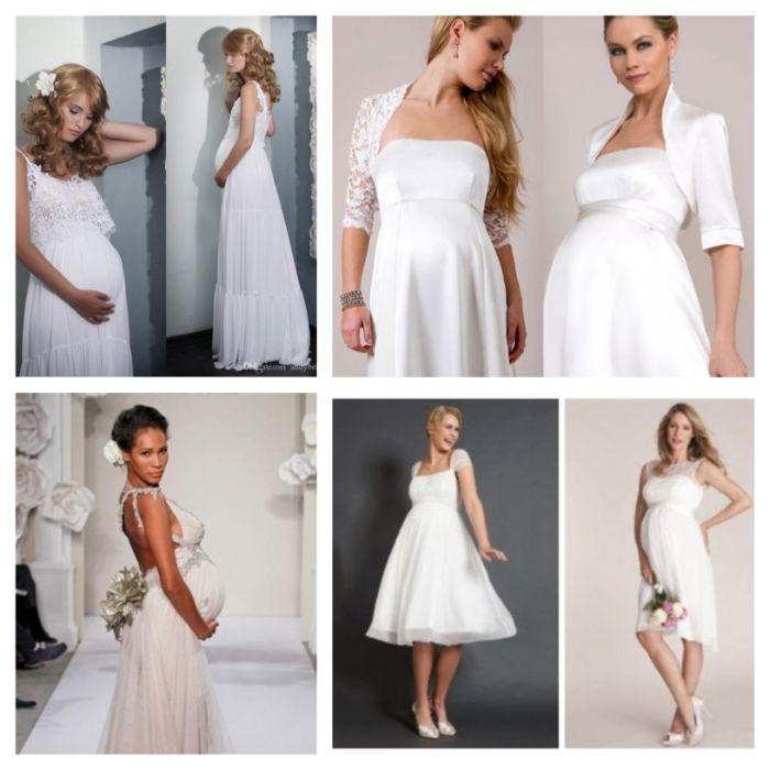 umstandsmode hochzeit, umstandshochzeitskleid, schöne brautkleider ideen zum inspirieren, collage mit vielen bildern