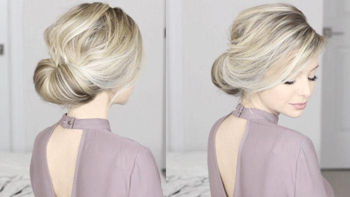 halblange frisuren ideen für haarstyles, blonde haare schön gestalten frisur für eine frau