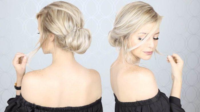 halblange frisuren, blonde haare mit schönem hochsteckfrisur ideen eine frau und ihre bilder von zwei seiten