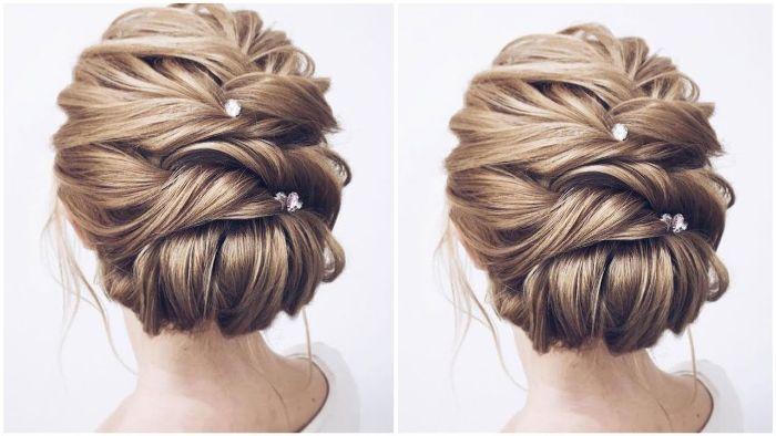 mittellange haare schnitt und frisur zum stylen, haarschmuck, haardeko