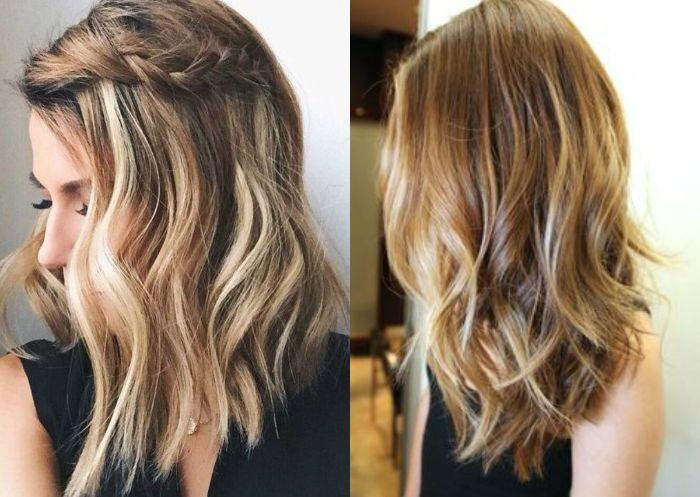 frisuren für mittellange haare, blonde frau, zopf oben am haar bei frei gelassenen haaren