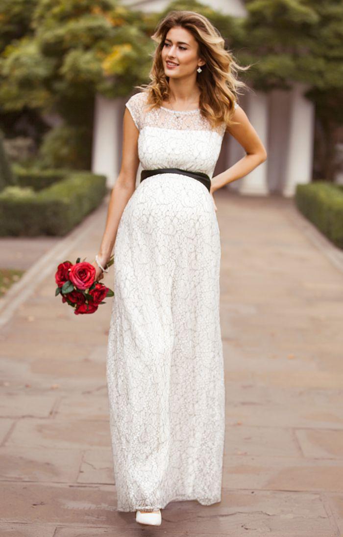 hochzeitskleid für schwangere, elegantes langes kleid, spitze kleid mit schwarze schleife um die taille