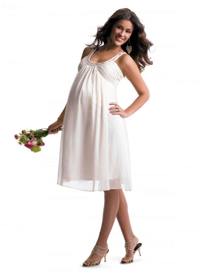hochzeitskleid für schwangere, knielanges kleid elegante frau mit brautkleid, absatzschuhe