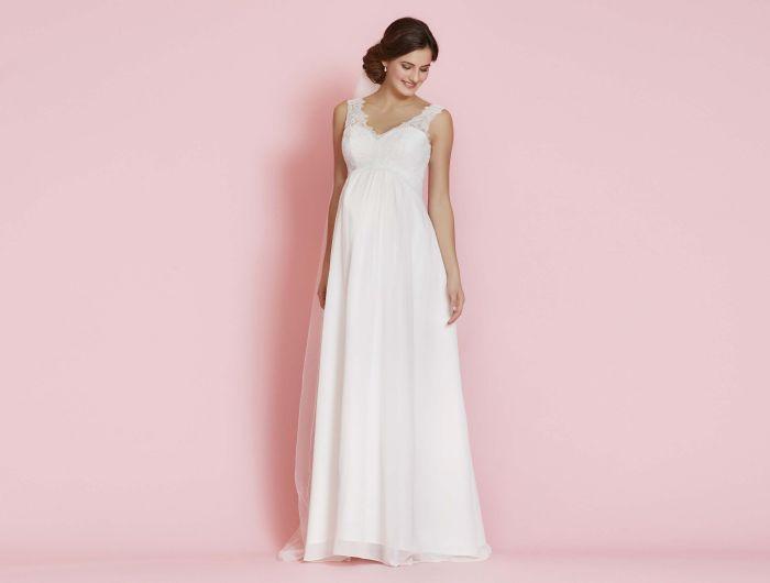 hochzeitskleider für schwangere elegante optik von einem langen kleid mit dezenten ärmeln