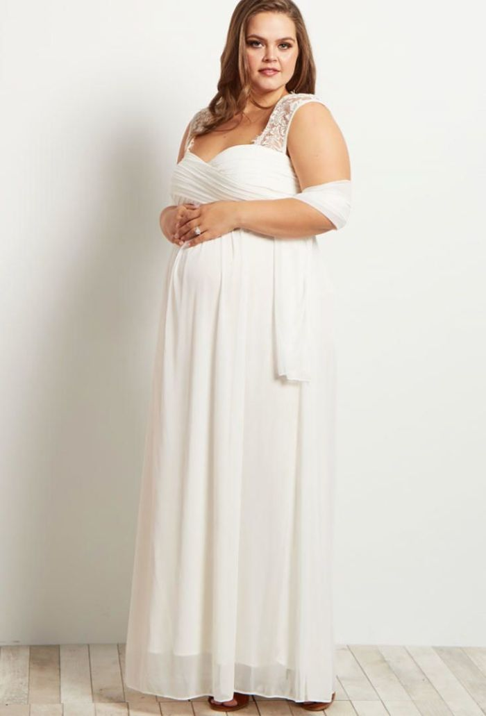 umstandskleider hochzeit, plus size mama wird bald baby kriegen, hochzeitskleid ideen