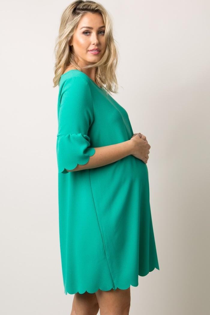 Schwangerschaftsmode für besondere Anlässe, kurzes Umstandskleid in Grün für Schwangere